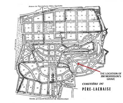 map jim morrison's grave
